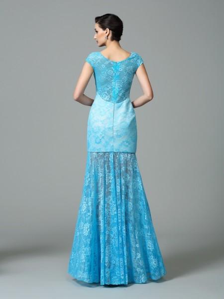 Sheath/Column Floor-Length Scoop Short Sleeves Lace Dresses