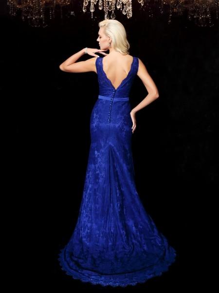 Sheath/Column Lace Sweep/Brush Train Straps Sleeveless Satin Dresses