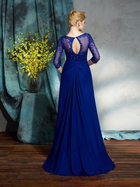 A-Line/Princess Sequin Floor-Length V-neck 3/4 Sleeves Chiffon Mother of the Bride Dresses