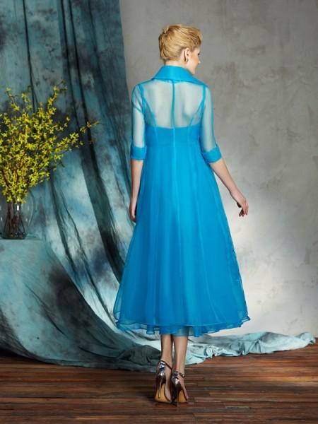 A-Line/Princess Applique Knee-Length Strapless Sleeveless Organza Mother of the Bride Dresses