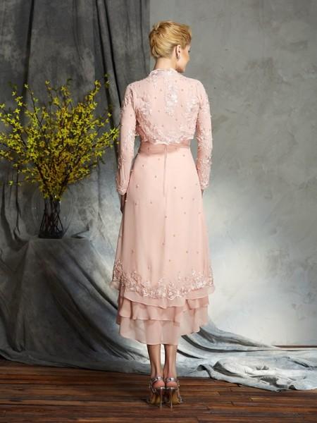 A-Line/Princess Applique Knee-Length Strapless Sleeveless Chiffon Mother of the Bride Dresses
