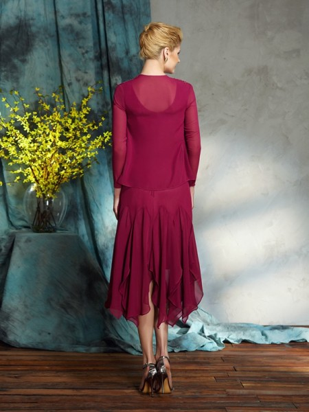 A-Line/Princess Applique Knee-Length Scoop Sleeveless Chiffon Mother of the Bride Dresses