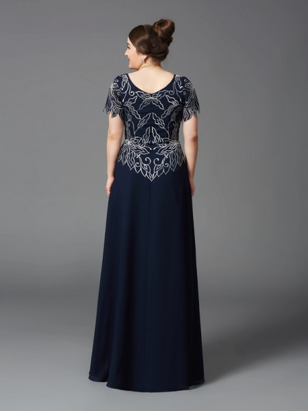 A-Line/Princess Floor-Length Square Short Sleeves Chiffon Mother of the Bride Dresses