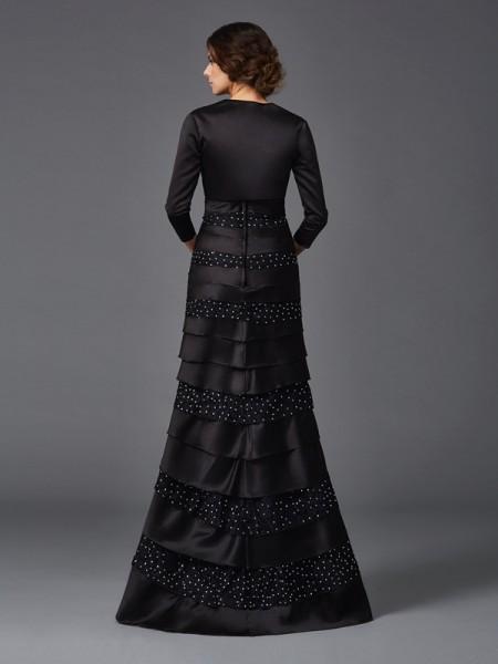 Sheath/Column Beading Floor-Length Strapless Sleeveless Satin Mother of the Bride Dresses