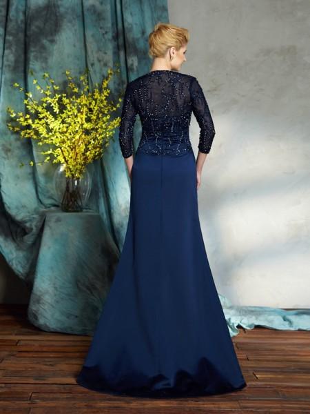 Sheath/Column Sequin Floor-Length Sweetheart Sleeveless Satin Mother of the Bride Dresses