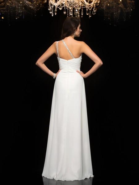 A-Line/Princess Beading Floor-Length One-Shoulder Sleeveless Chiffon Dresses