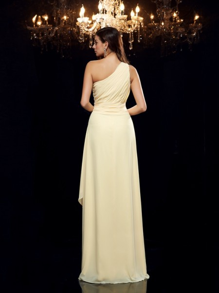 A-Line/Princess Beading Asymmetrical One-Shoulder Sleeveless Chiffon Dresses