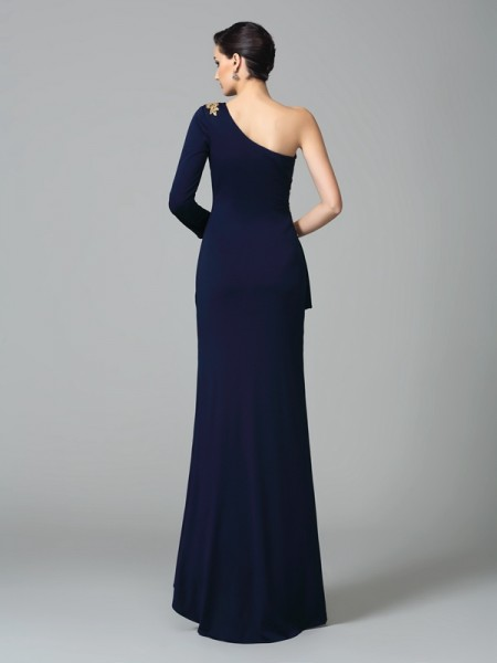 Sheath/Column Embroidery Floor-Length One-Shoulder Long Sleeves Spandex Dresses