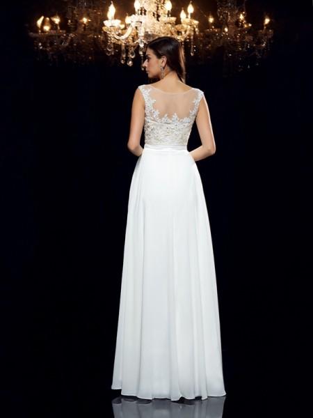 A-Line/Princess Applique Floor-Length Scoop Sleeveless Chiffon Dresses