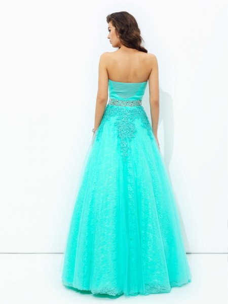 A-line/Princess Beading Floor-Length Strapless Sleeveless Elastic Woven Satin Dresses