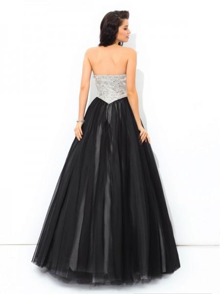 Ball Gown Paillette Floor-Length Sweetheart Sleeveless Net Quinceanera Dresses