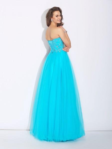 A-Line/Princess Rhinestone Floor-Length Sweetheart Sleeveless Satin Dresses