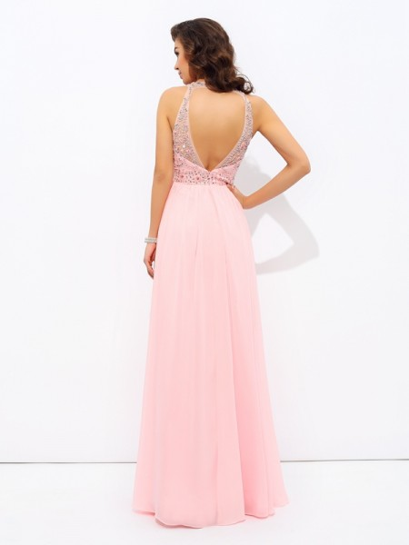A-line/Princess Beading Floor-Length Jewel Sleeveless Chiffon Dresses