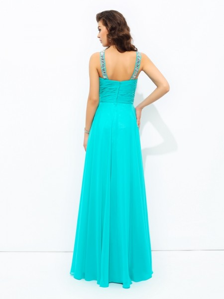 A-line/Princess Paillette Floor-Length V-neck Sleeveless Chiffon Dresses