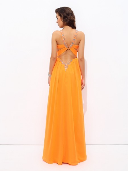 A-line/Princess Rhinestone Floor-Length V-neck Sleeveless Chiffon Dresses