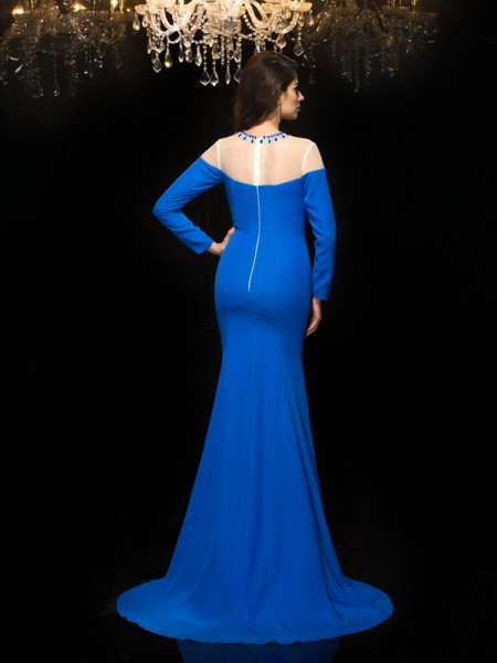 Sheath/Column Beading Floor-Length Jewel Long Sleeves Chiffon Dresses