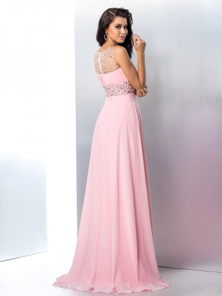 A-Line/Princess Beading Sweep/Brush Train Sheer Neck Sleeveless Chiffon Dresses