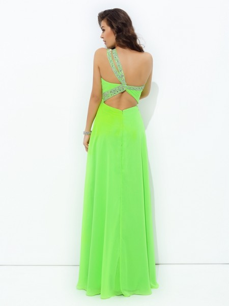A-line/Princess Rhinestone Floor-Length One-Shoulder Sleeveless Chiffon Dresses