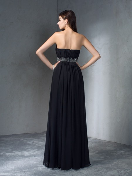 A-Line/Princess Beading Floor-Length Strapless Sleeveless Chiffon Dresses