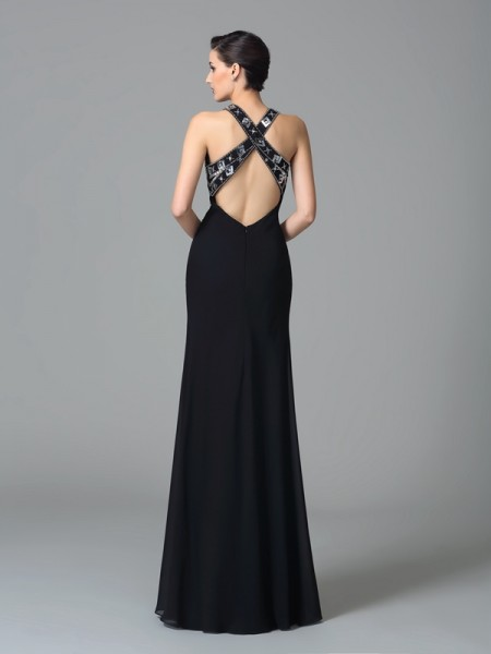 Sheath/Column Beading Floor-Length Straps Sleeveless Chiffon Dresses