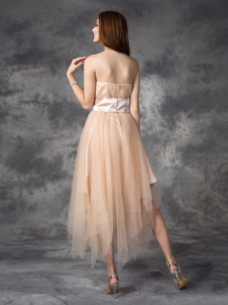 A-line/Princess Bowknot Ankle-Length Strapless Sleeveless Elastic Woven Satin Dresses