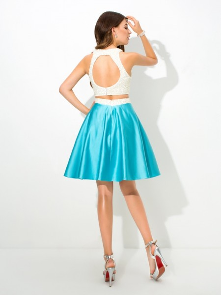 A-Line/Princess Beading Short/Mini Jersey Neck Sleeveless Satin Dresses