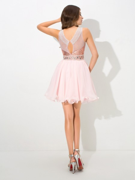 A-Line/Princess Sequin Short/Mini Sheer Neck Sleeveless Chiffon Cocktail Dresses
