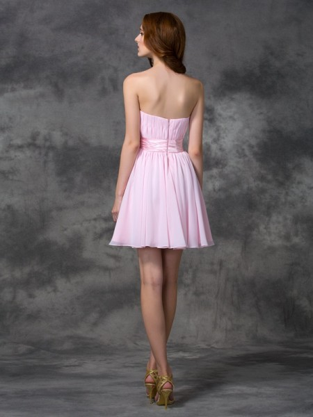 A-line/Princess Ruched Short/Mini Sweetheart Sleeveless Chiffon Dresses