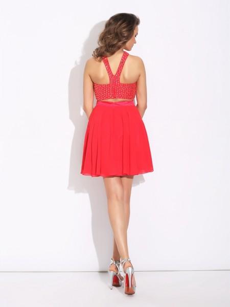 A-Line/Princess Crystal Short/Mini Jewel Sleeveless Chiffon Dresses