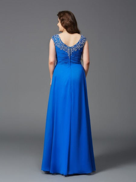 A-Line/Princess Beading Floor-Length Straps Short Sleeves Chiffon Dresses