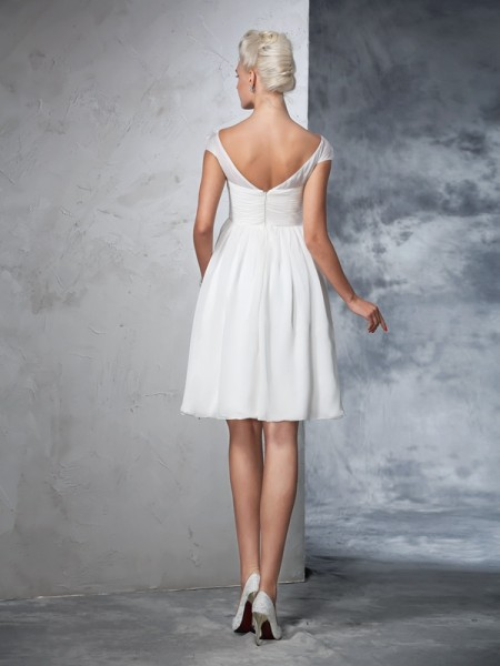 A-Line/Princess Ruched Knee-Length Sheer Neck Short Sleeves Chiffon Wedding Dresses