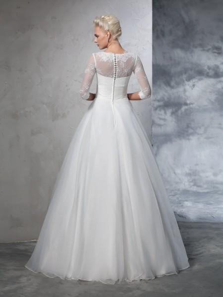 Ball Gown Applique Floor-Length Jewel 3/4 Sleeves Organza Wedding Dresses