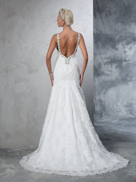 Trumpet/Mermaid Lace Chapel Train Spaghetti Straps Sleeveless Lace Wedding Dresses