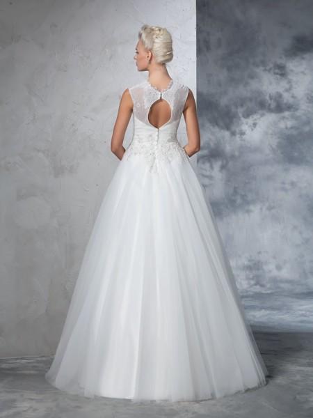 Ball Gown Applique Floor-Length High Neck Sleeveless Net Wedding Dresses