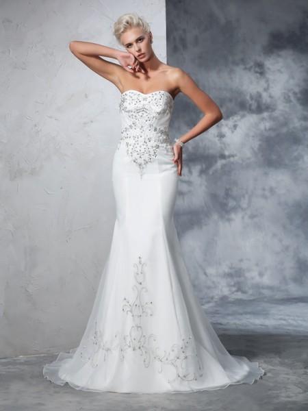 Trumpet/Mermaid Beading Court Train Sweetheart Sleeveless Satin Wedding Dresses