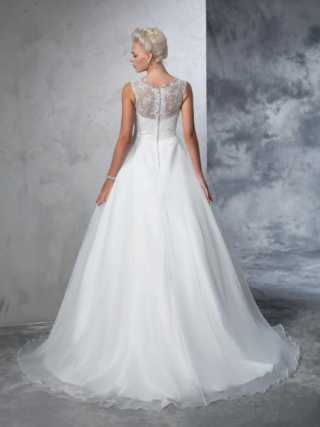 Ball Gown Lace Chapel Train Sheer Neck Sleeveless Net Wedding Dresses