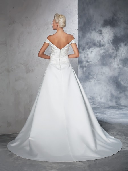 Ball Gown Ruched Chapel Train Off-the-Shoulder Sleeveless Taffeta Wedding Dresses