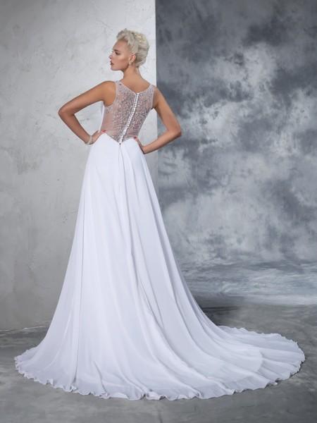 A-Line/Princess Beading Cathedral Train V-neck Sleeveless Chiffon Wedding Dresses