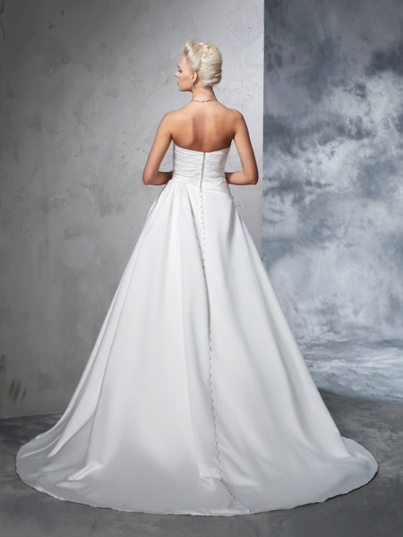Ball Gown Ruched Chapel Train Strapless Sleeveless Satin Wedding Dresses