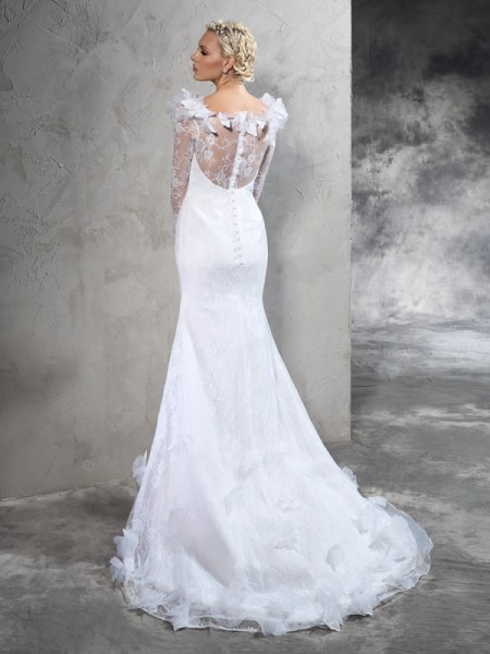 Sheath/Column Hand-Made Flower Court Train Sheer Neck Long Sleeves Satin Wedding Dresses