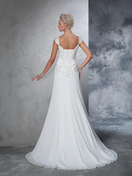 A-Line/Princess Beading Court Train Straps Sleeveless Chiffon Wedding Dresses