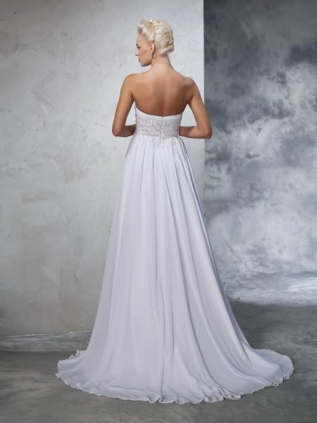A-Line/Princess Beading Sweep/Brush Train Sweetheart Sleeveless Chiffon Wedding Dresses