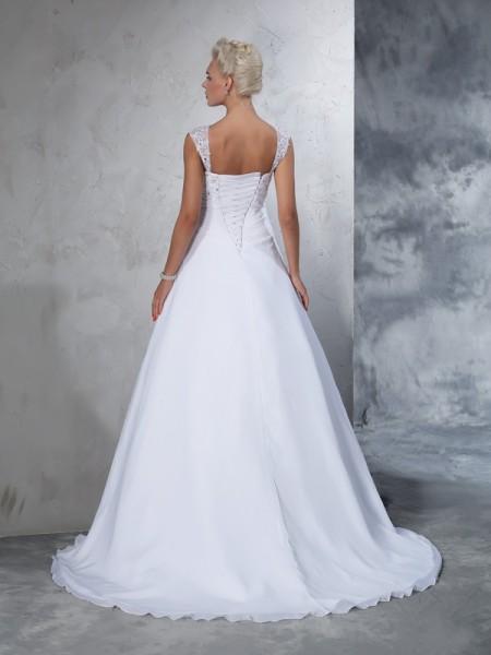 Ball Gown Applique Court Train Straps Sleeveless Chiffon Wedding Dresses