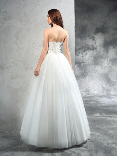 A-Line/Princess Beading Floor-Length Sweetheart Sleeveless Net Wedding Dresses