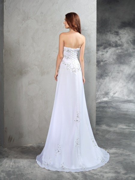 Sheath/Column Beading Sweep/Brush Train Strapless Sleeveless Chiffon Wedding Dresses