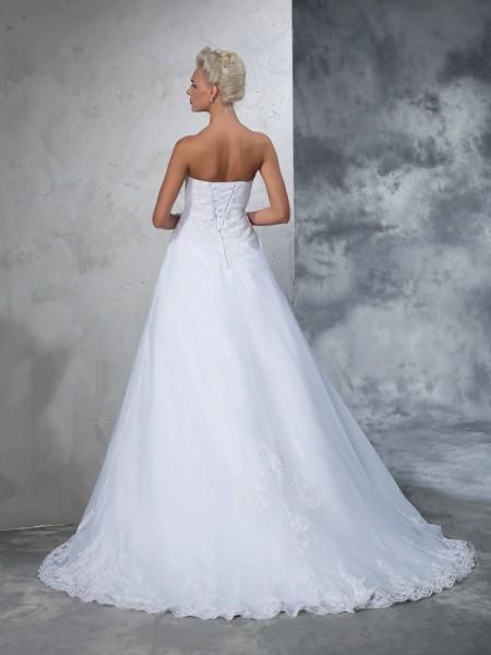 Ball Gown Applique Court Train Strapless Sleeveless Net Wedding Dresses