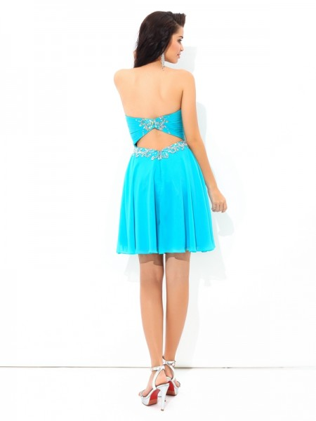 A-Line/Princess Pleats Short/Mini Sweetheart Sleeveless Chiffon Cocktail Dresses