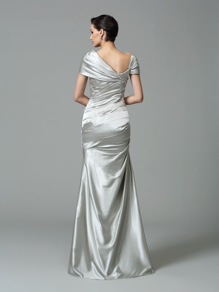 Sheath/Column Pleats Floor-Length Off-the-Shoulder Sleeveless Silk like Satin Dresses