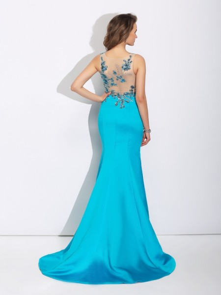 Trumpet/Mermaid Applique Sweep/Brush Train Scoop Sleeveless Satin Dresses