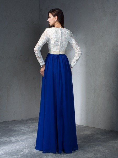 A-Line/Princess Floor-Length V-neck Long Sleeves Chiffon Dresses